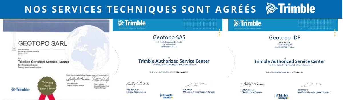 Certifications SAV agréé par Trimble